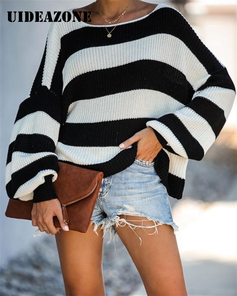 Black White Patchwork Jumpers Knit Sweaters Women Pull Femme Striped Loose Lantern Sleeve Ladies Sweater Pullover 2019 New