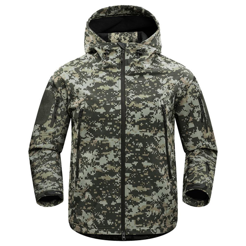 Plus Size Men's Camouflage Hooded Fleece Waterproof Mountaineering Warm Jackets Male Outdoor Hiking Outwear Coat For Winter