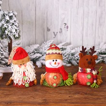 Mesh Christmas Apple Bags Snowman/Santa Claus/Reindeer Candy Gift Holders For