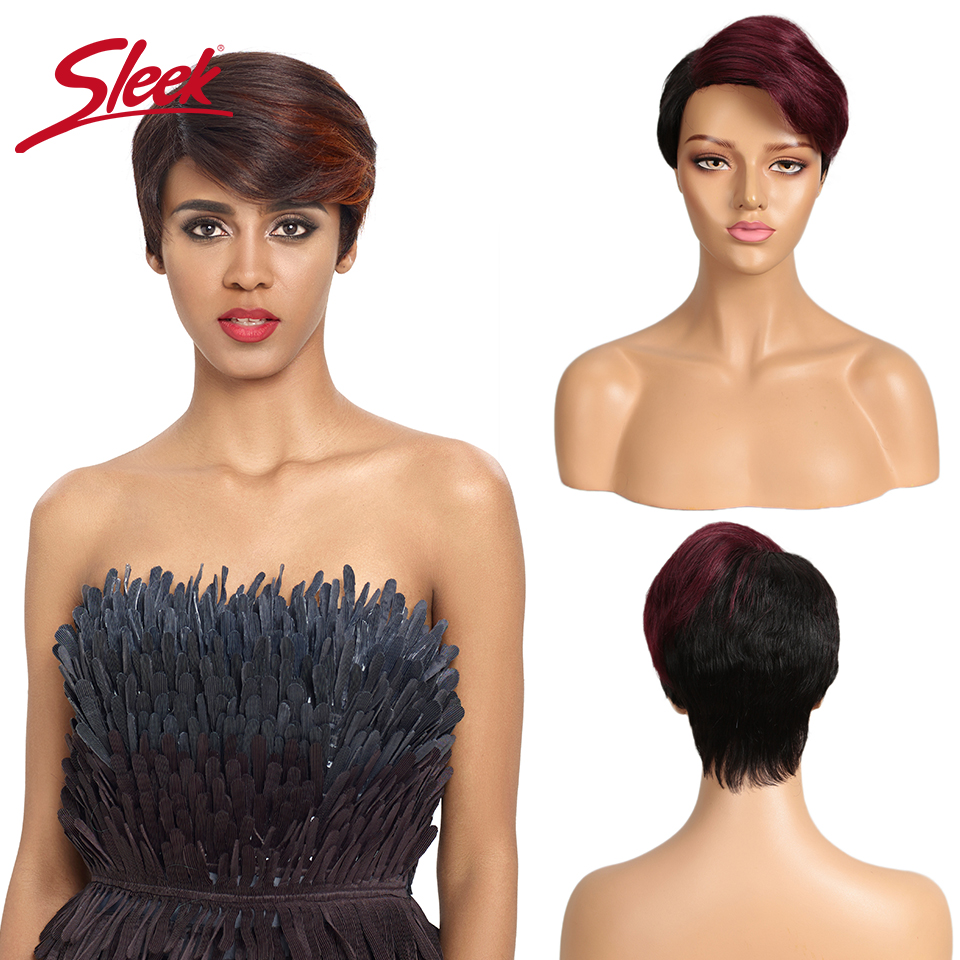 Sleek Short Human Hair Wigs 100% Remy Brazilian Strawberry Red Part Lace Wigs Straight Hair Wigs Pixie Cut Lace Wigs For Women