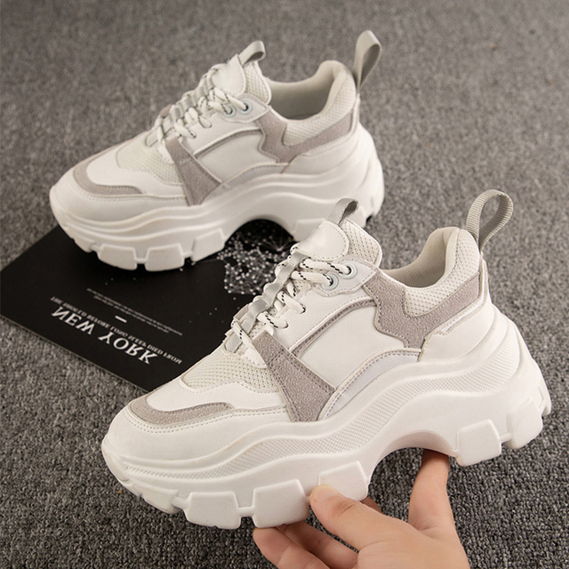 Tênis chunky feminino plataforma inferior grossa vulcanize sapatos moda respirável casual tênis de corrida para a mulher do sexo feminino 2020 4
