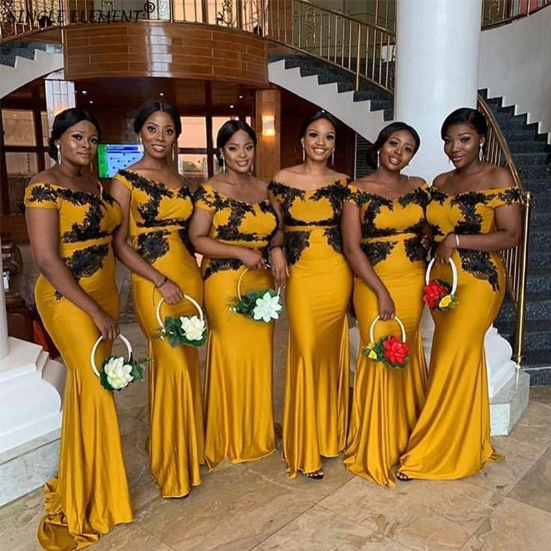 Newest African Gold Lace Up Satin Mermaid   Bridesmaid     Dresses   Wedding Party   Dresses