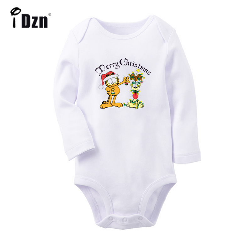 Merry Christmas Garfield And Odie Reindeer Santa Claus Newborn Baby Bodysuit Toddler Onesies Jumpsuit Clothes Christmas Gift