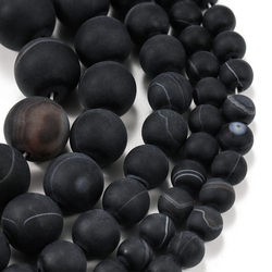 1strand/lot 4 6 8 10 12mm Black Matt Natural Stone Stripe Agates Round Loose Beads For DIY Bracelet Jewelry Makings Supplies