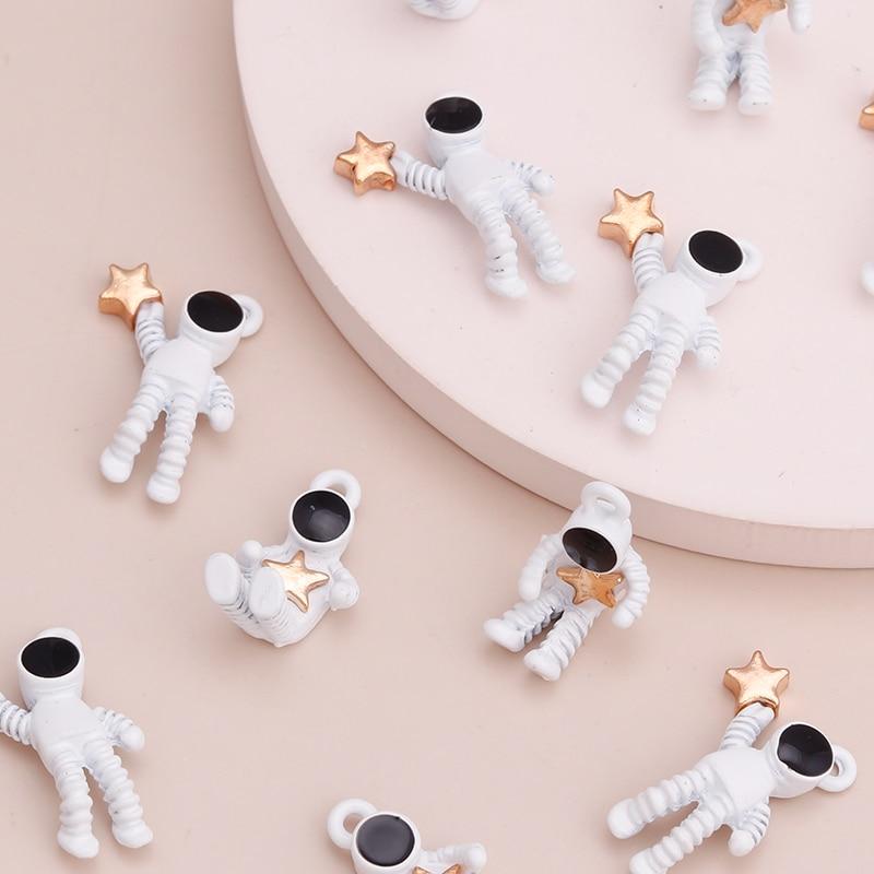 10 шт. эмаль астронавт подвески в виде звезд набор «сделай сам» для Браслеты & ожерелья 2 стиля ручной работы конечные бусины в форме цветов