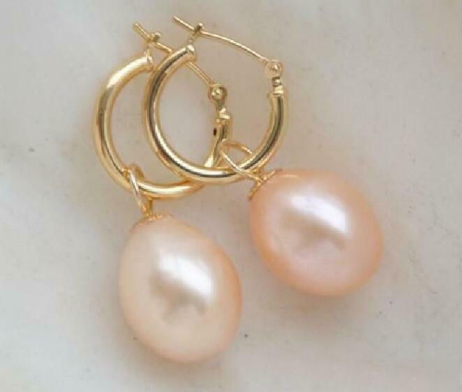 HOT Huge 10-12mm South Sea Pink natural drop Pearl Earring