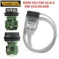 Мини VCI FW V2.0.4 FTDI FT232RL j2534 новейший SW V15.00.028 реальный двойной K + CAN Интерфейс для Toyota MINI VCI ECU перепрограммирование