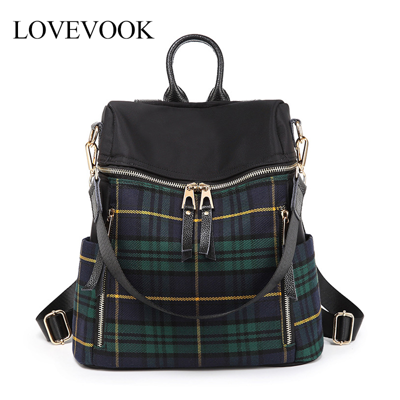 LOVEVOOK women backpack school bag for teenage girls classic England style travel backpack waterproof oxford cloth backpack 2020