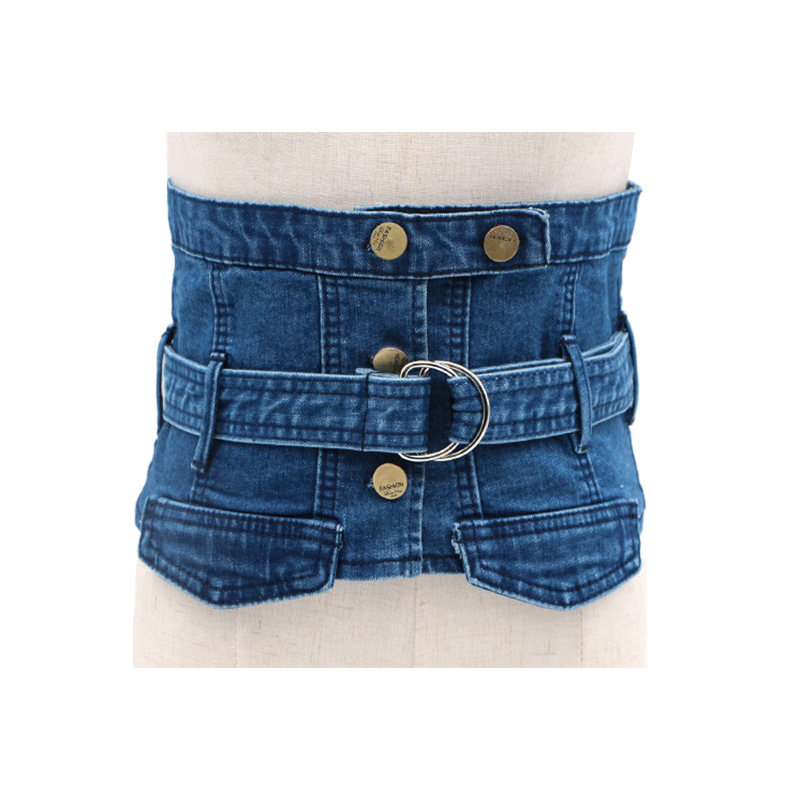 Women Jean Cummerbund Belt Denim Fabric Ring Buckle Button Waist Belt Slimming Corset European Ladies Waistbands Wide Waist
