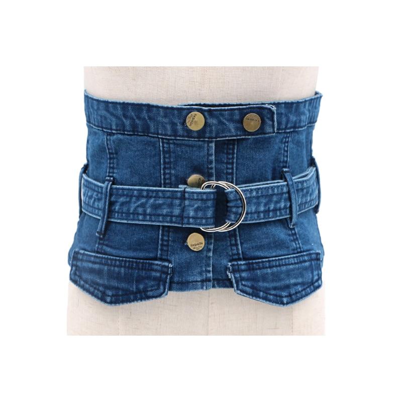 Women Jean Cummerbund Belt Denim Fabric Ring Buckle Button Waist Belt Slimming Corset European Ladies Waistbands Wide Waist