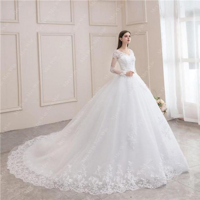 Wedding Dress 2021 New Luxury Full Sleeve Sexy V-neck Bride Dress With Train Ball Gown Princess Classic Wedding Gowns 1
