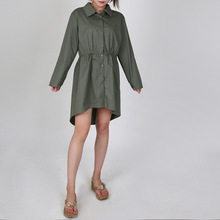 Fashion Large Size Shirt Dress Simple Shirt Collar High Waist Closed Tight Loop Sleeve Long Shirt 2019 Women Blouses  Shirt simple design shirt collar long sleeves high low letter printed shirt for women