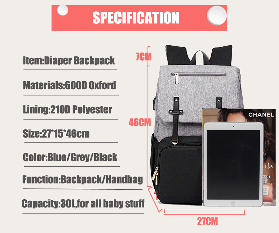 H5660bd800bfd4d978f4df8bc7b84b2f8U Baby Diaper Bag with USB Port Waterproof Nappy Bag Mommy Backpack Laptop Bag Maternity Bags With Rechargeable Bottle Holder