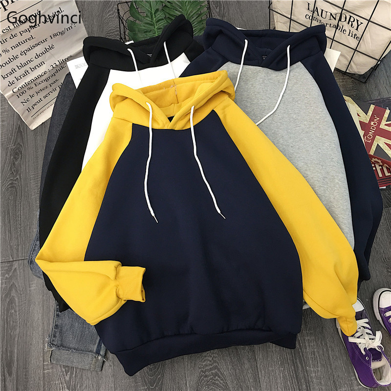 Hoodies Women Trendy Patchwork Thicker Warm Womens Korean Loose Hooded Leisure Ladies Pullover Sweatshirt Chic Elegant Harajuku