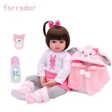 47cm pink rabbit bebe reborn doll boneca infantil meninas reborn doll to give children the best birthday Christmas gift(China)