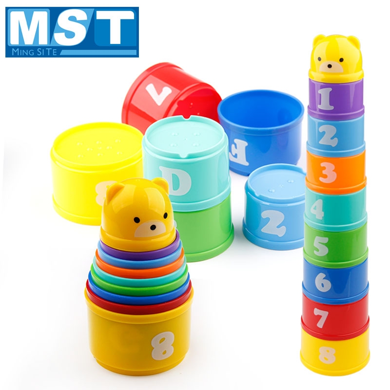 Educational Infant Little Bear Figures Letters Stacked Cups Intelligence Stacking Toys Cup Tower Building Block  For Baby Kids