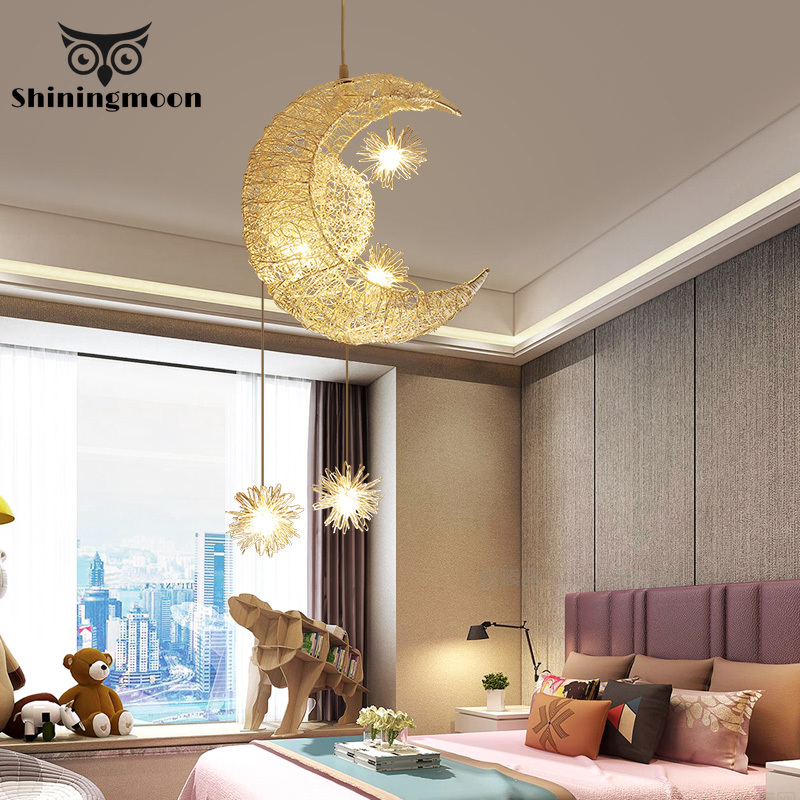 Modern Iron Pendant Lights Gold Moon Vanity Light Pendant Lamp Children's Living Room Hanging Lamp Loft Decor Lighting Fixture