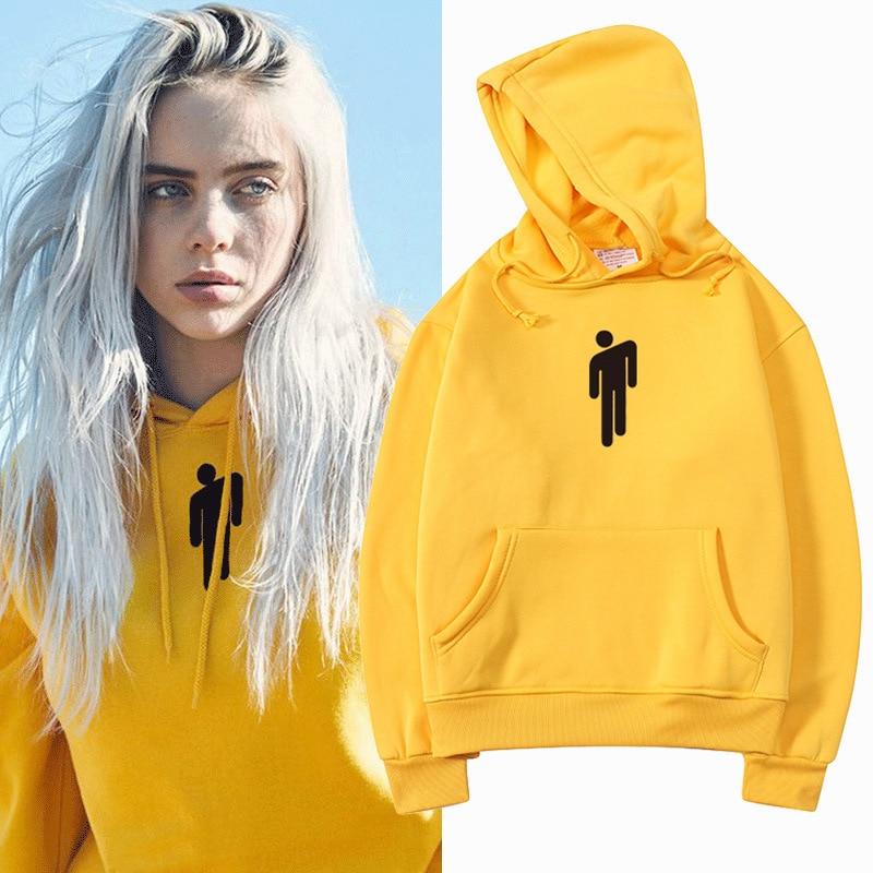 Women Hoodie American Singer Billie Eilish Pullovers Harajuku Hip Hop Streetwear Autumn Winter Sweatshirt Women Hoody