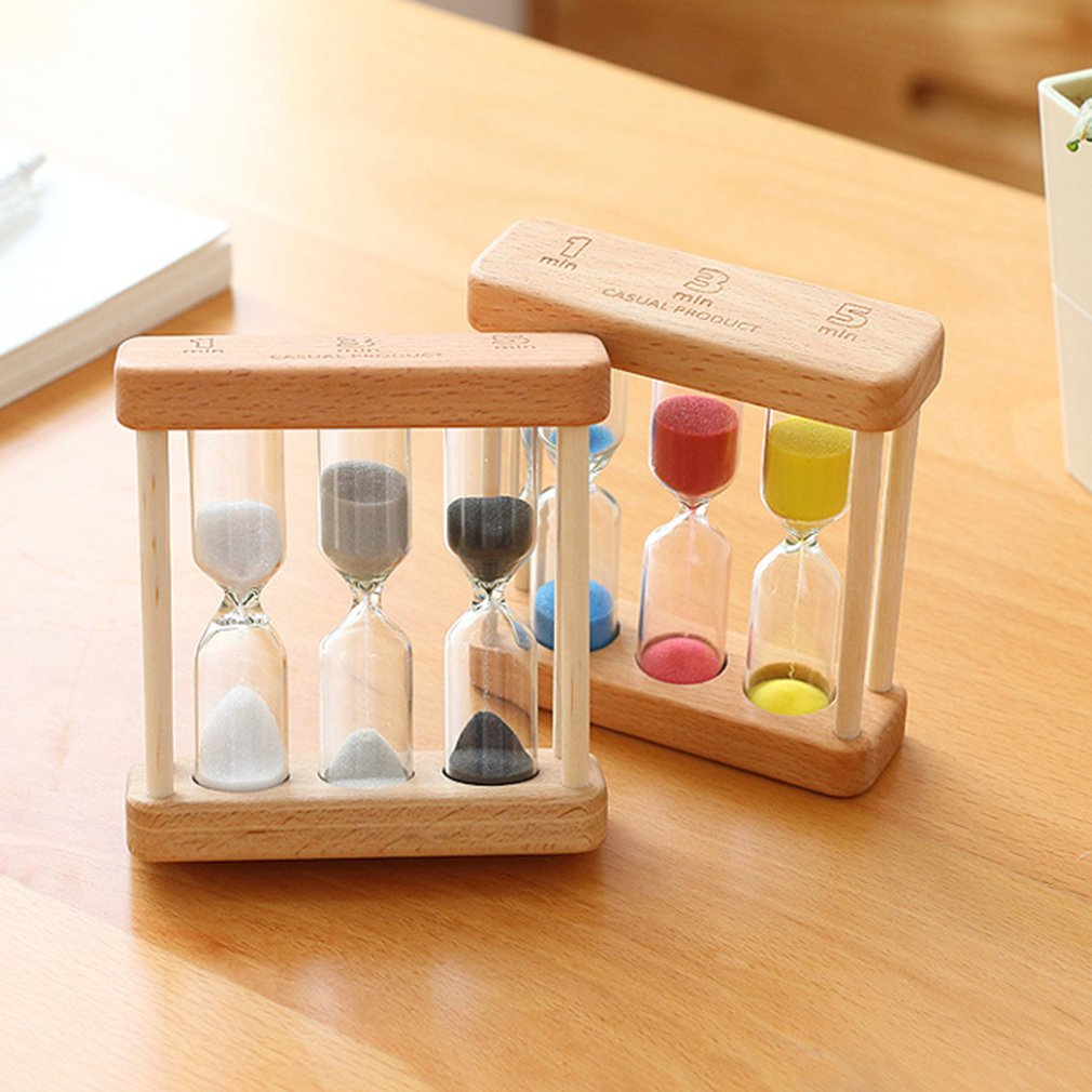 Creative 1/3/5 Minute Wooden Sand Glass Hourglass Timer Clock Home Decor Gift For Childern Simple Style