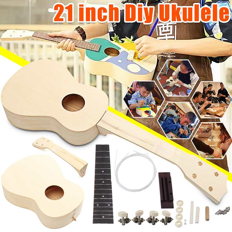 21 Inch Ukulele Small Guitar DIY Kit Hand-assembled Unfinished Guitar Parts Basswood Body Rosewood Fingerboard with Accessories