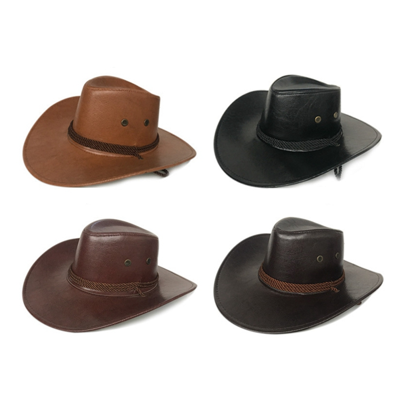 PU Leather Cowboy Hat Wide Brim Solid Color Caps For Gentleman Casual Travel Fancy Party Male Female Cowgirl  Hats Cap