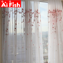 Pink plum blossom  semi-sun shade balcony partition decorative window screen tulle embroidery curtains for living room MY045#50