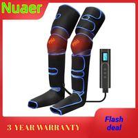Masajeador de piernas eléctrico con 3 modos de intensidad, masajeador de compresión, carga USB, inalámbrico, con función de calefacción, 6 modos