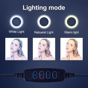 Светодиодный светильник для селфи с регулируемой яркостью для камеры телефона, светодиодный кольцевой светильник со штативом для макияжа, ...