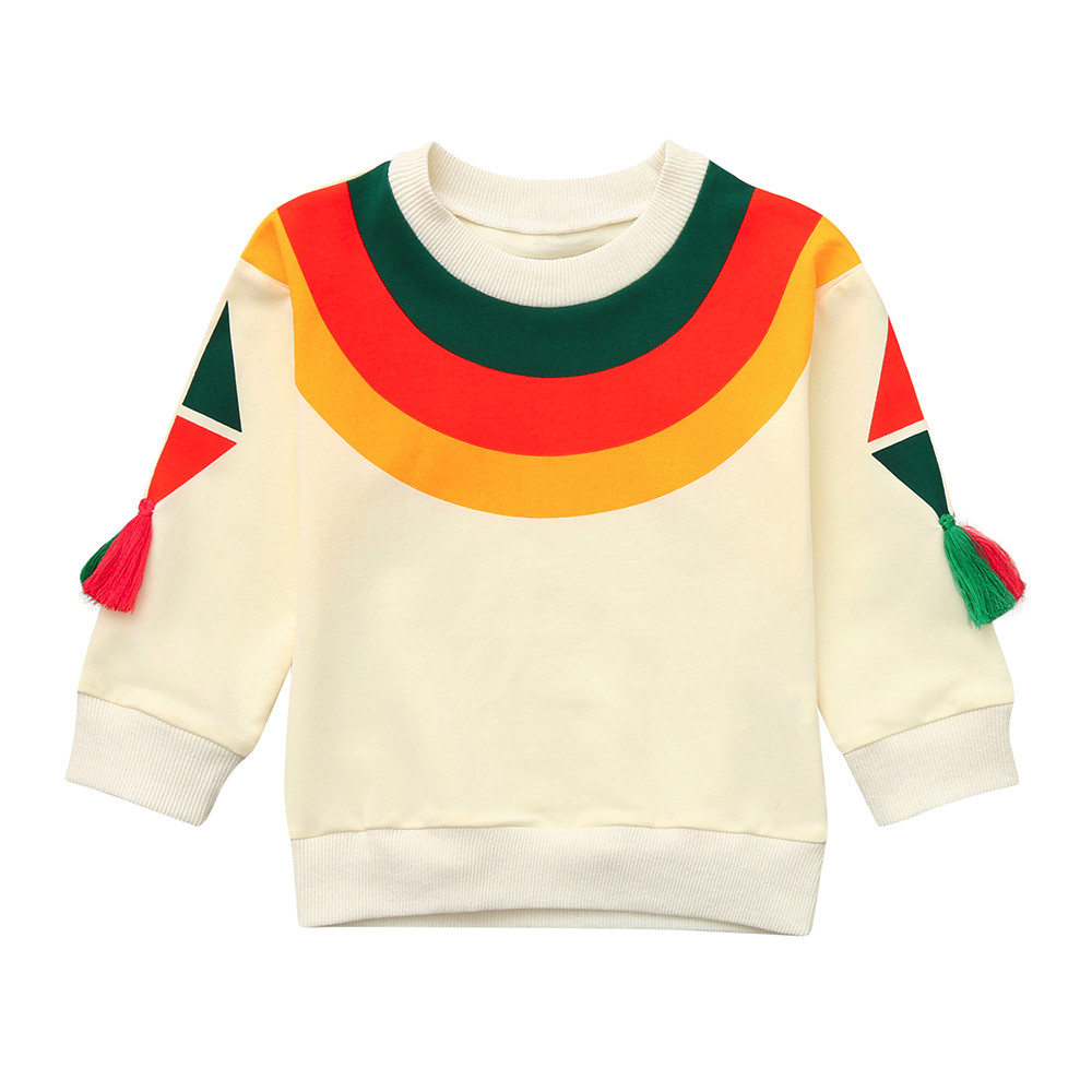 Pullover Sweatshirt Toddler Girls Infant Boys Children Fashion Autumn Outfits Rainbow-Tops