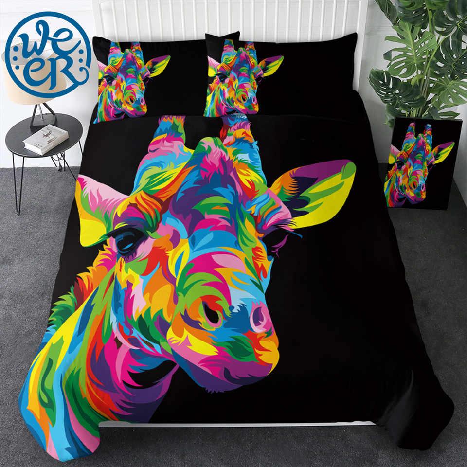 Sleepwish Giraffe Bedding Twin Size Flower Giraffe Bed Set Pastel Watercolor Paint Duvet Cover Set 3 Piece Cute Animal Comforter Cover for Kids Teens Girls Adults Women