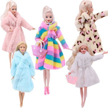 2 Pcs/Set (Free Shipping)=1 Plush Coat + 1 High Heels For 11.8 Inch Barbie Clothes Accesorios 30 cm Doll,Toys For Girls image