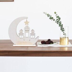 Image 4 - Wood Craft Ramadan Eid Mubarak Decorations for Home Moon Wooden Plaque Hanging Ornament Pendant Islam Muslim Party Supplies