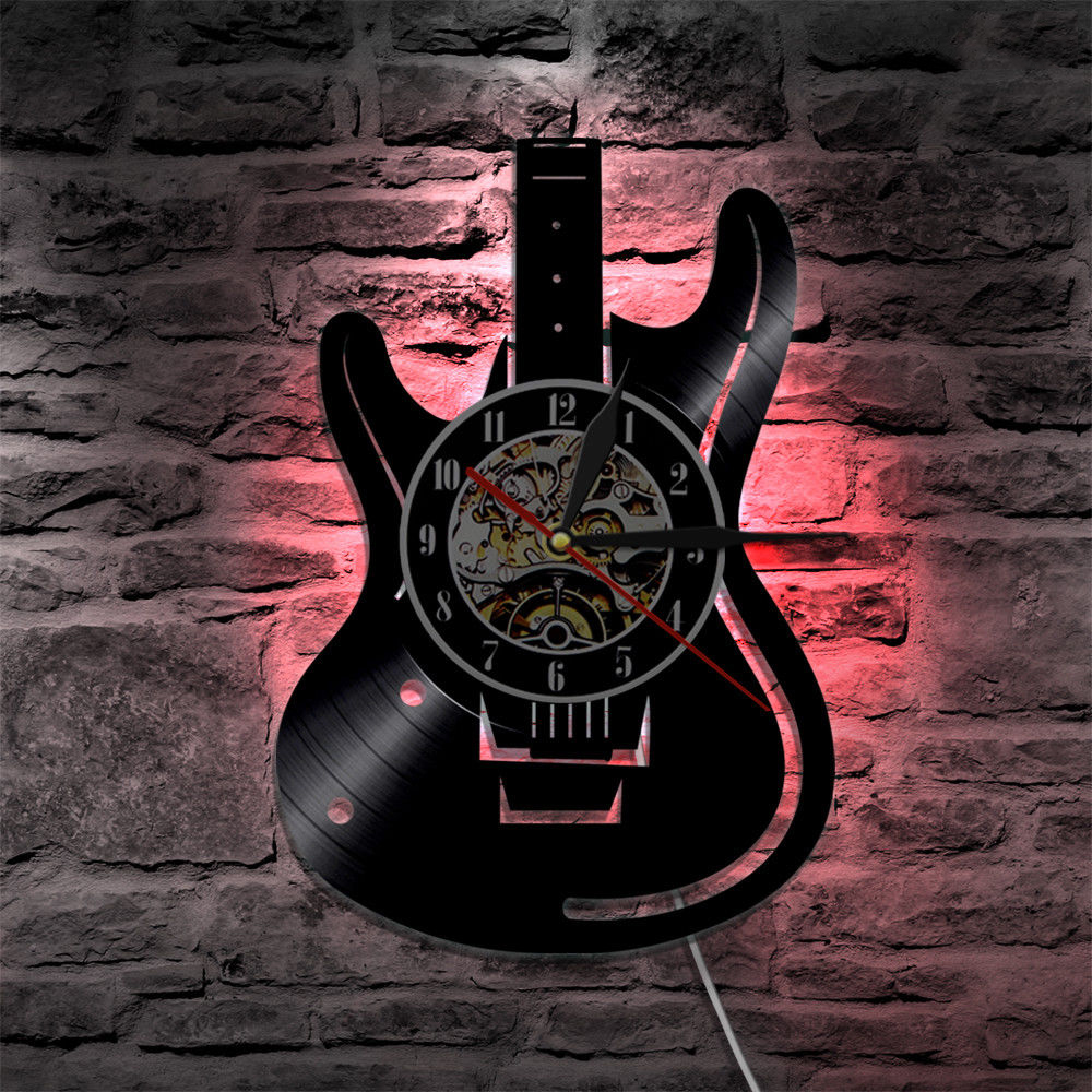 LED Wall Clock Modern Design Music Clocks With Backlight Vintage Retro Classic Vinyl CD Record Wall Watch Home Decor Silent