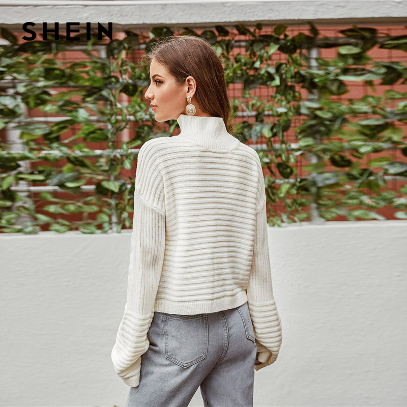 SHEIN White Solid High Neck Drop Shoulder Winter Sweater Women Tops 2019 Autumn Highstreet Long Sleeve Basic Casual Sweaters 2