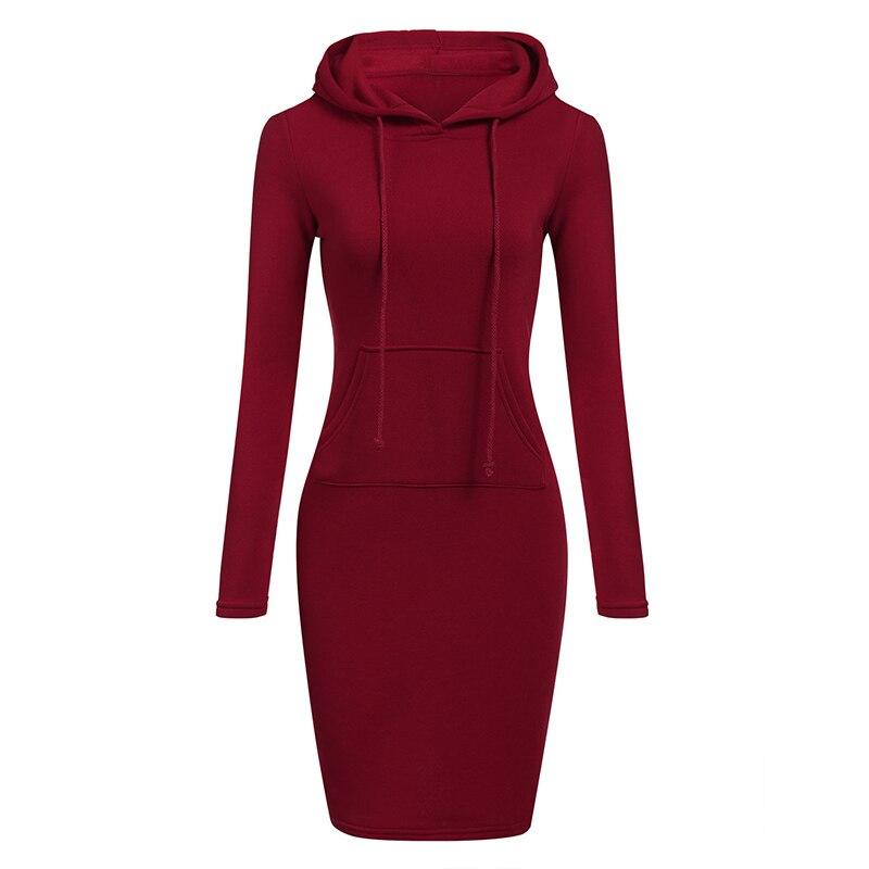 Women Dress Hoodie Pullovers Dresses Autumn Winter Dreess Long Sleeve Solid Color Casual Loose Sukienki Ladies