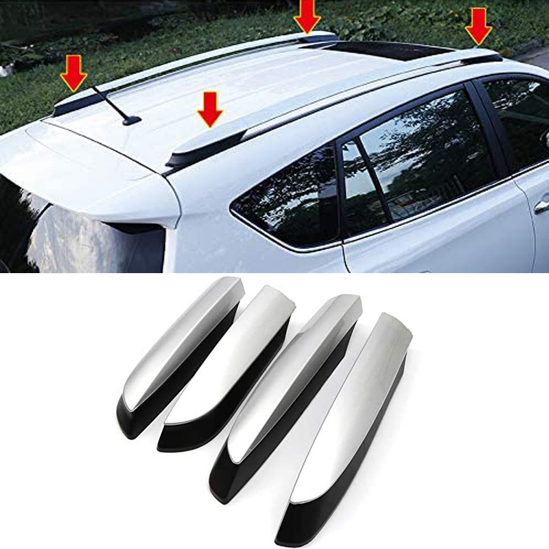 Roof Rack Rail End Cover, 4Pcs Roof Rack Cover Shell Cap Replacement for Toyota RAV4 XA40 2013 2014 2015 2016 2017 2018 Car Acce