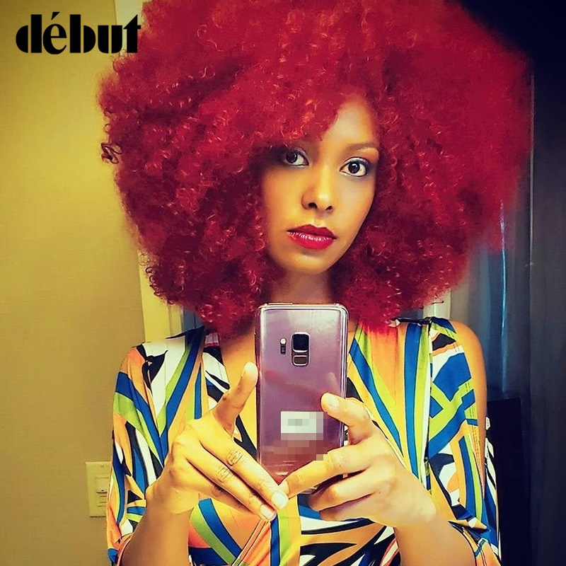 Debut Afro Kinky Curly Human Hair Wigs For Black Women Remy Brazilian Short Hair Wigs Red Color Pixie Cut Short Wigs Women's Wig