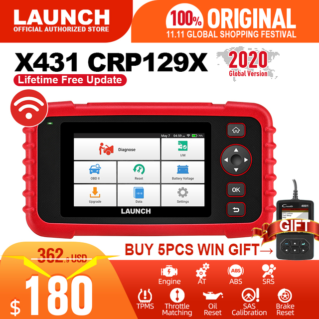 LAUNCH X431 CRP129X OBD2 Auto Code Reader Car Diagnostic Tool with Reset Diagnostic Scanner for Car Engine ABS SRS AT PK CRP129