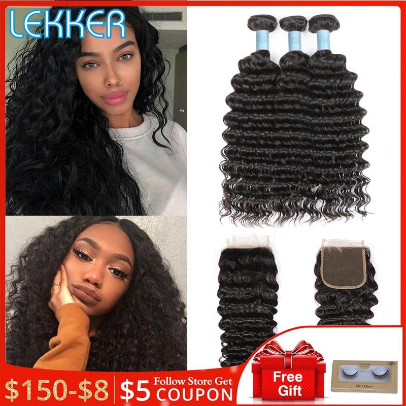 Lekker Deep Wave Bundles With Closure Malaysian Hair Bundles With Closure 3 Bundle With Lace Closure 8''-28'' L Hair Non-remy