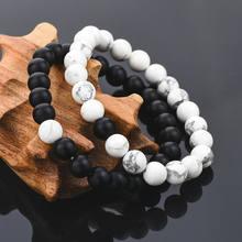 Pulseira de miçangas de pedras naturais, bracelete com miçangas de pedra natural de 8mm, pulseira de casais combinando com onyx branca fosca, joia howlite para mulheres e homens