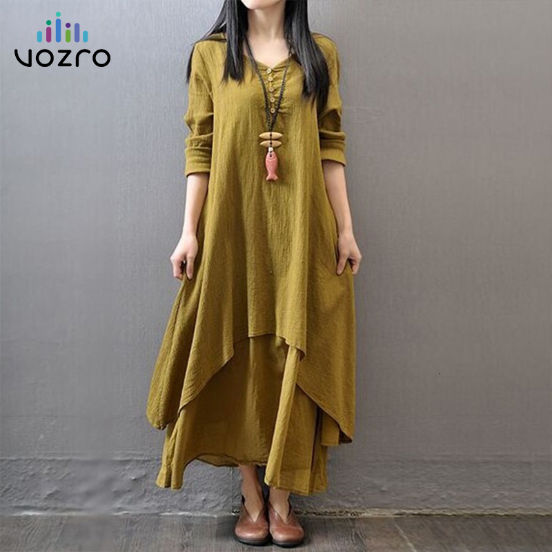VOZRO Literature Wind Longuette Will Pendulum Flax Winter Maxi Party Dress Women Long Sleeve Cotton Vestido Dresses Vintage