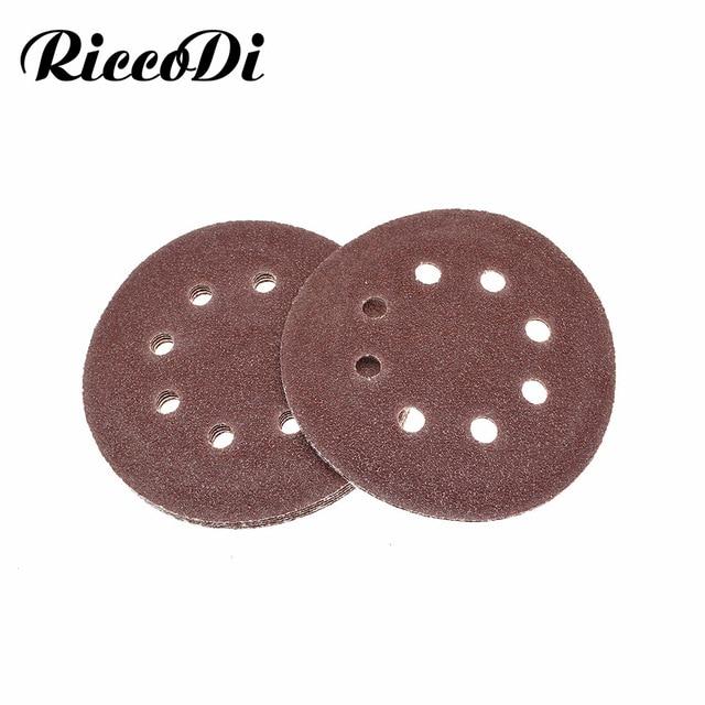 5 10pcs 5 Inch 125mm Round Sandpaper Eight Hole Disk Sand Dremel Sheets Grit 40 2000 Hook and Loop Sanding Grinder Disc Polish