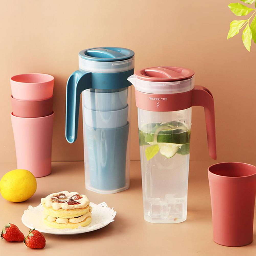 1 Set 1000ml Cold Water Pot Heated Resistant Large Capacity Safe Healthy Juice Plastic Water Pot Cold Water Bottle With Cups