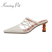 Krazing pot 2021 summer new arrival slip on mules plus size genuine leather small square toe strange high heels women pumps L53