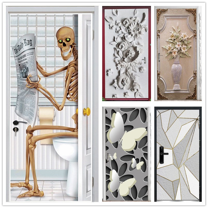 Creative Skeleton Door Stickers Embossed Flower Pattern PVC Self-adhesive Wallpaper Home Decor Murals Refrigerator Art Posters