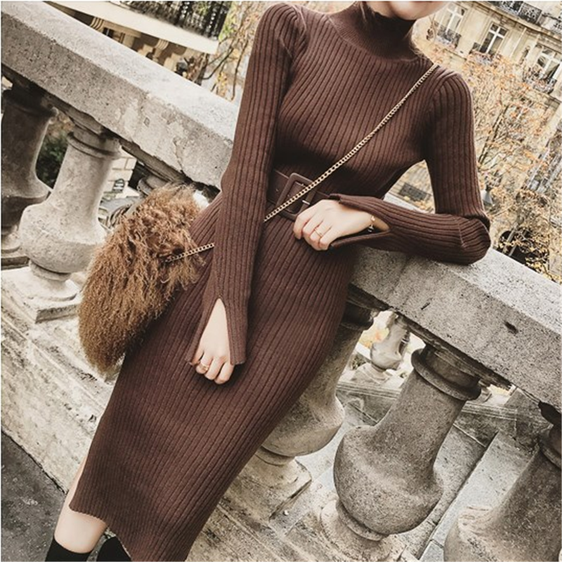 Bodycon Dress Sweater Wanita Musim Dingin Rajutan Sweater Gaun Panjang Wanita Korea Split Pleated Gaun Sabuk Musim Dingin OL Gaun Vestido