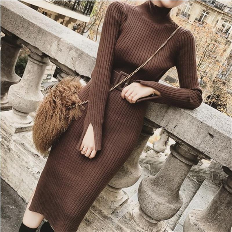 Bodycon Sweater Dress Women Winter Knitted Sweaters Long Dresses Korean Woman Split Pleated Dresses Belt Winter OL Dress Vestido