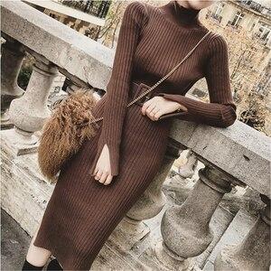 Bodycon Sweater Dress Women Winter Knitted Sweaters Long Dresses Korean Woman Split Pleated Dresses Belt Winter OL Dress Vestido(China)