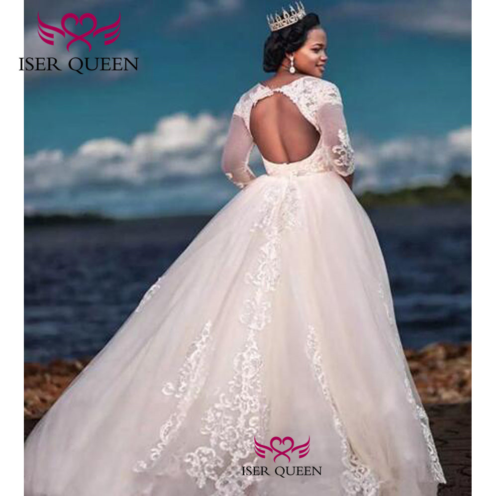 See-through O-neck Long Sleeves Delicate Embroidery Wedding Dresses Ball Gown Sexy Backless Plus Size Vestido De Novia W0377