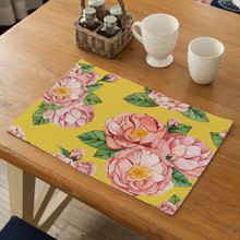 Fuwatacchi Table Placemats For Dinning Table Polyester Flowers Drink Coaster Party Tableware Mat Kitchen Decoration Accessories fashion waterproof oil heat resistant marble stripe placemat rectangle table mat drink coaster tableware kitchen accessories